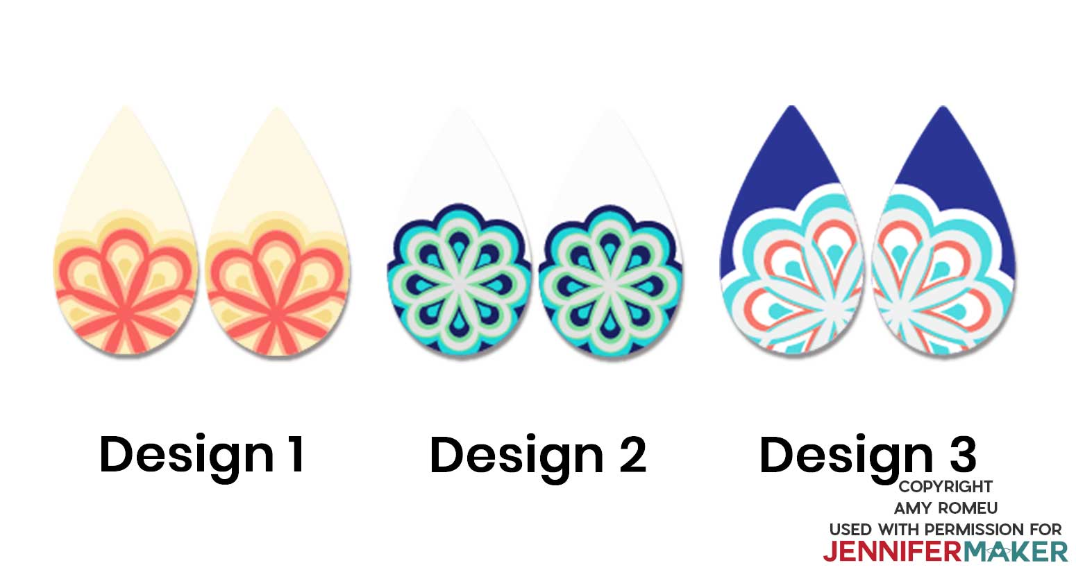 Three different faux leather mandala Cricut earring designs
