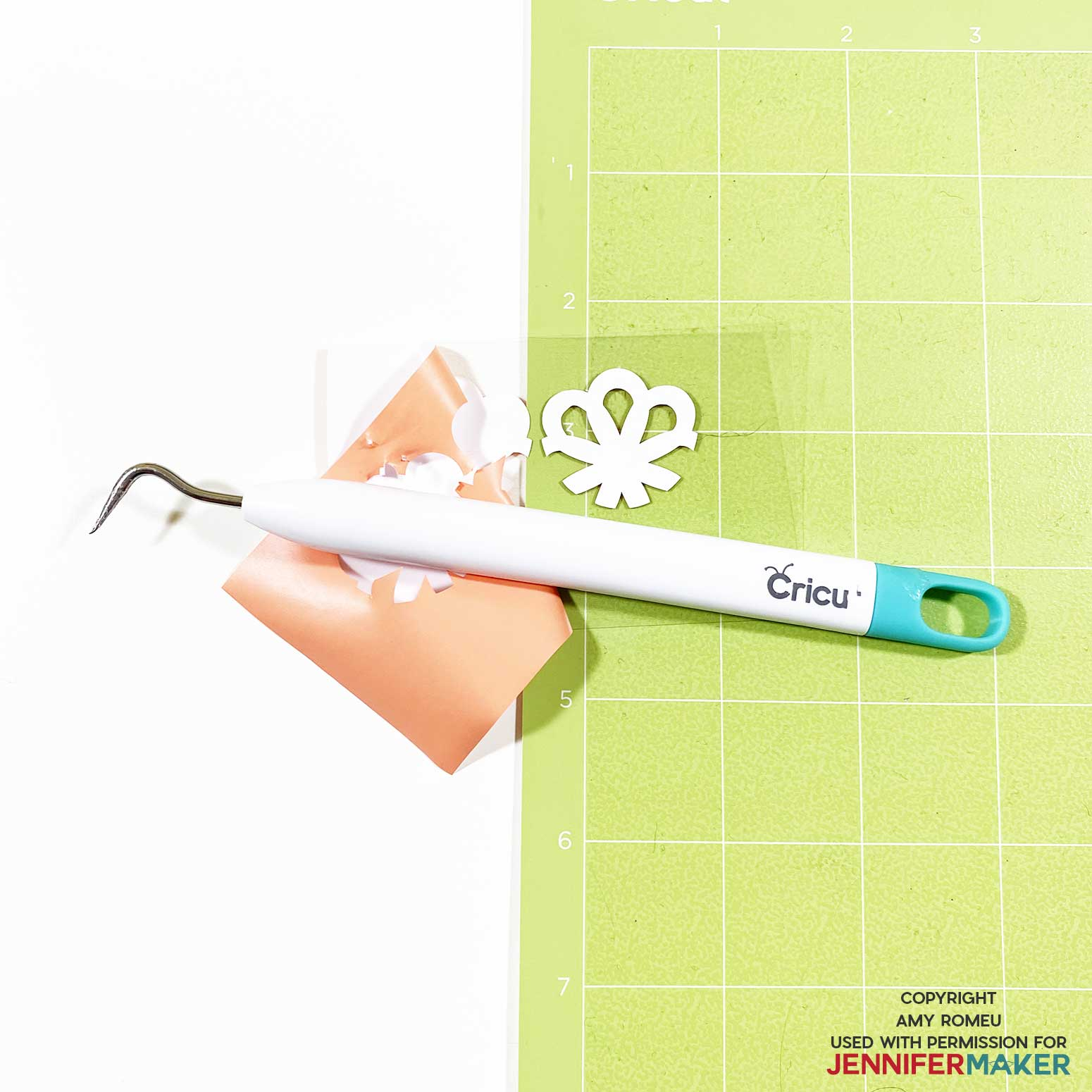 weeding heat transfer vinyl with a weeding tool