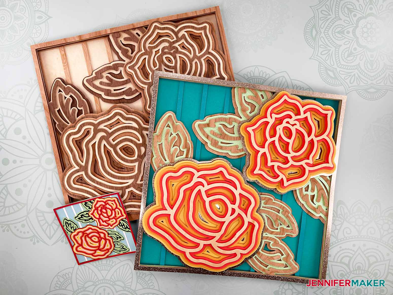 These are three of my Layered Mandala Rose 3D designs assembled
