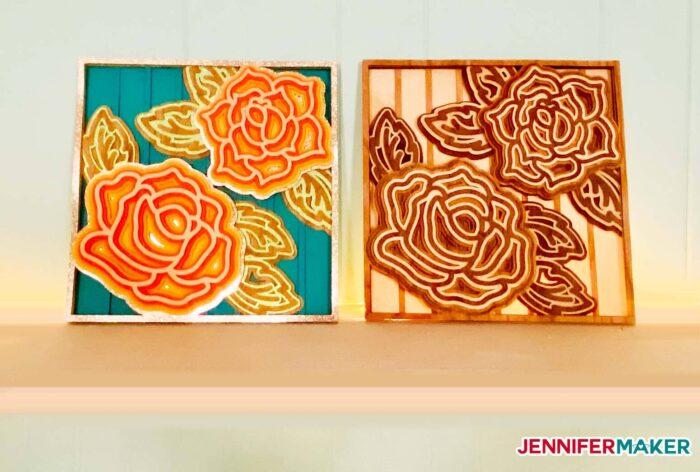 both layered mandala rose 3d cardstock and veneer