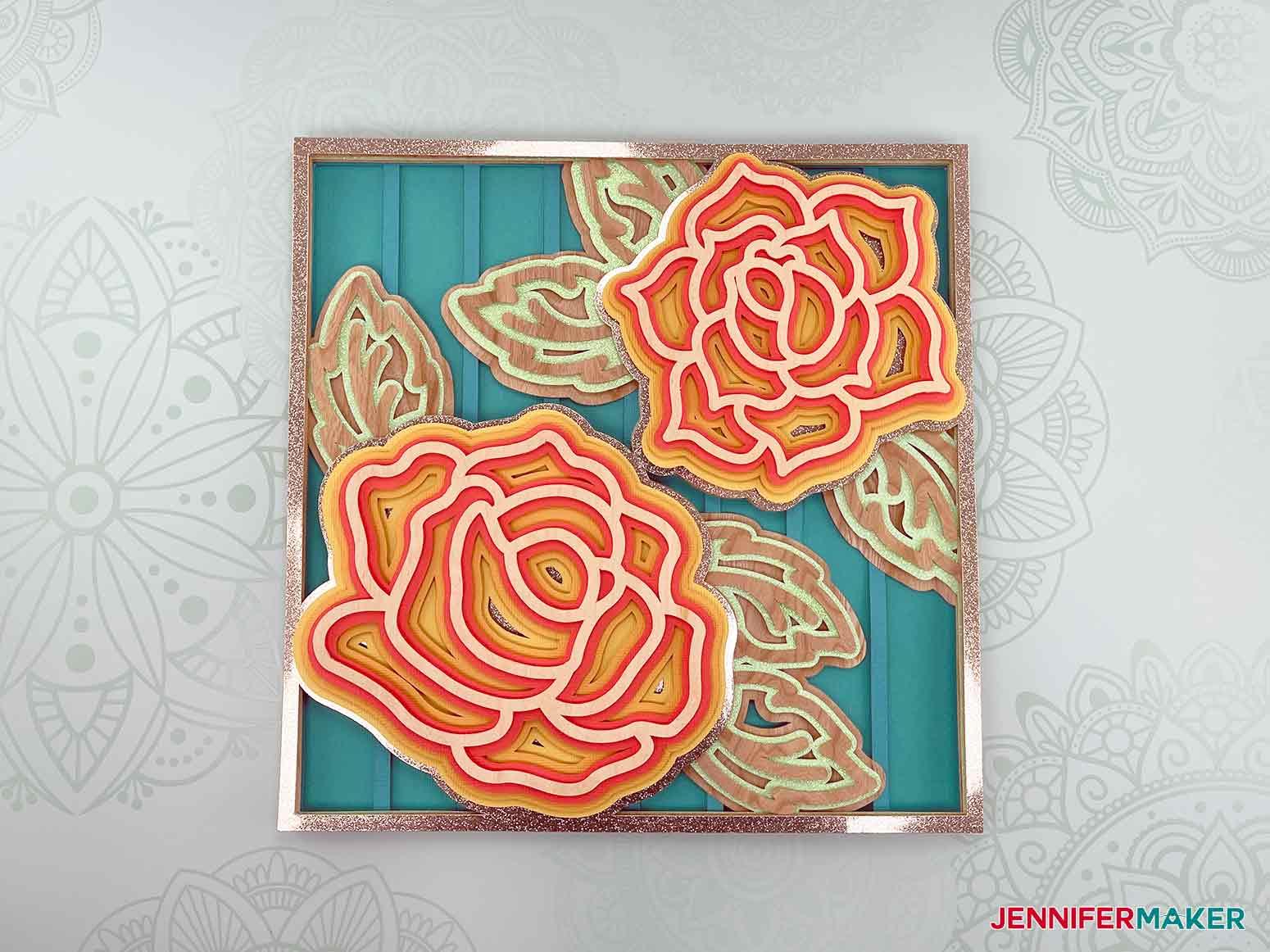 This is what my layered mandala rose 3d looks like using cardstock and wood veneer