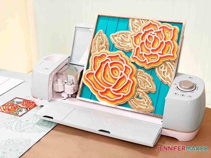 Cardstock layered mandala rose 3d project made with a Cricut