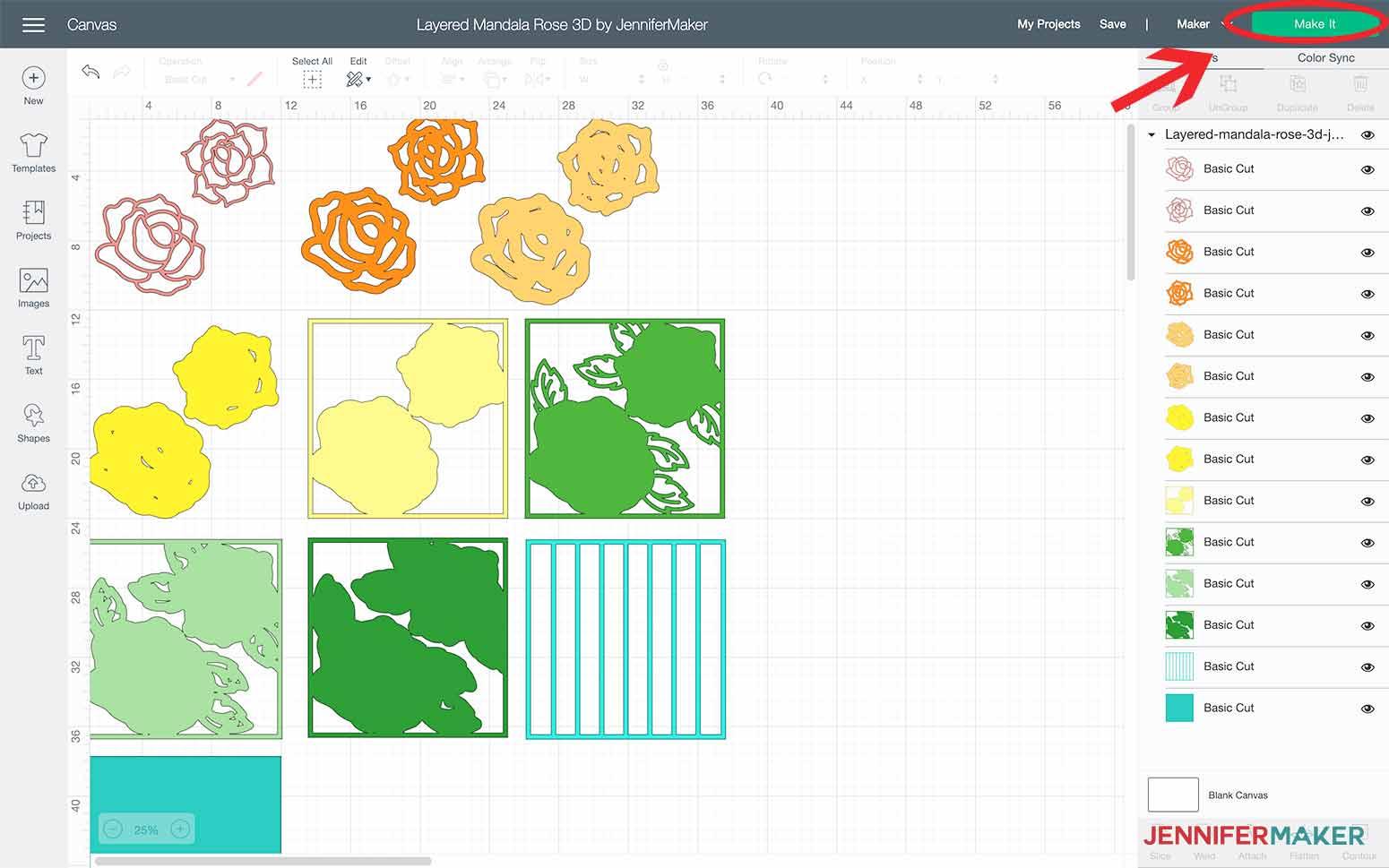 Click Make it in Design Space to make my Layered Mandala Rose 3D design