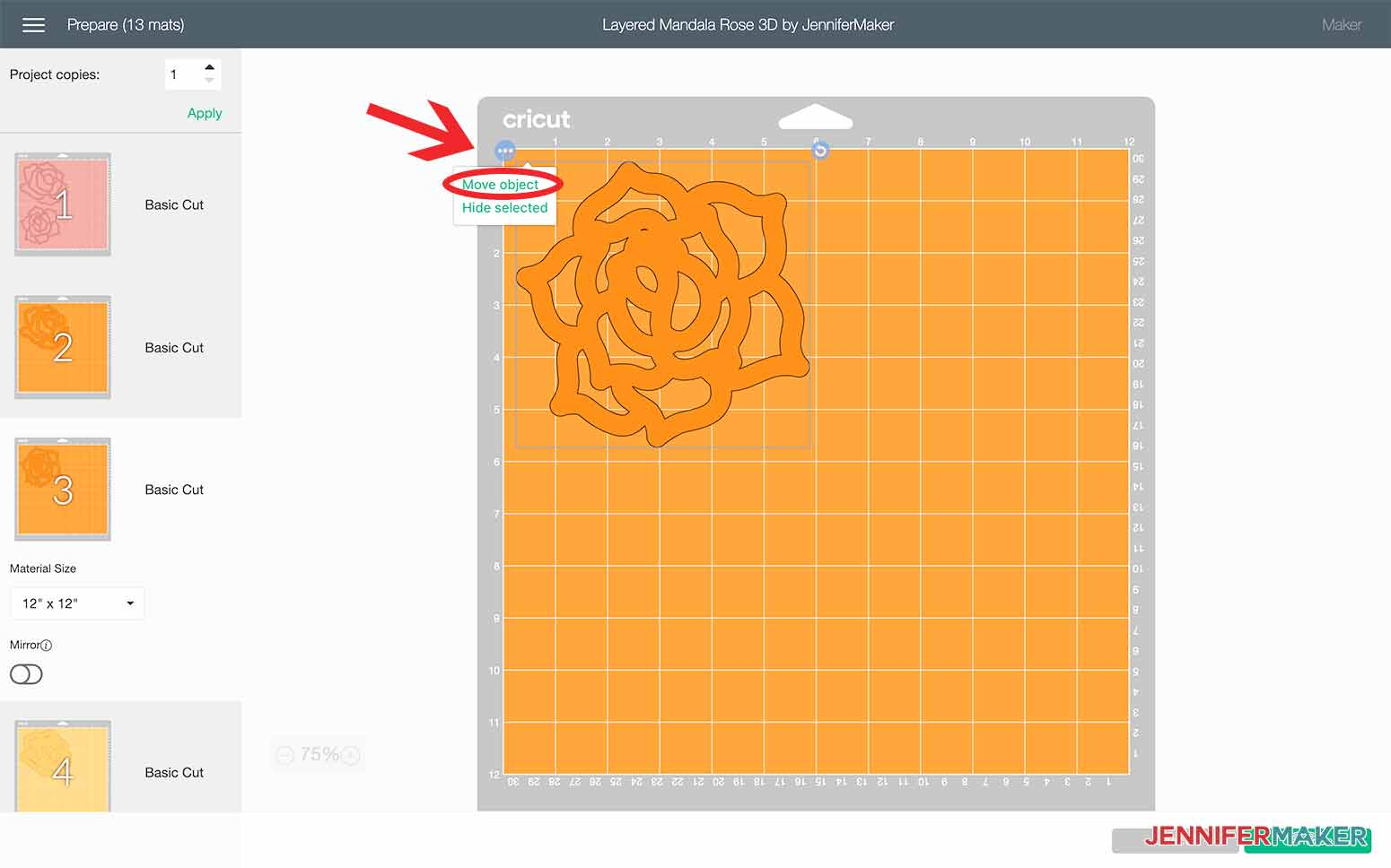 Select Move Object for the design to change mats in Design Space for my Layered Mandala