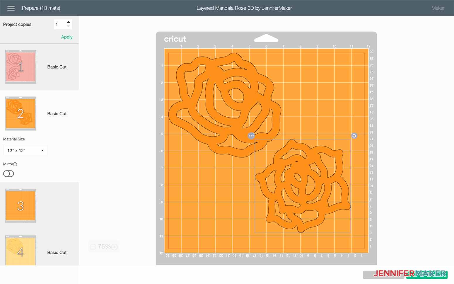 Select the image and move it so it is not overlapping other images for my Layered Mandala Rose 3D design