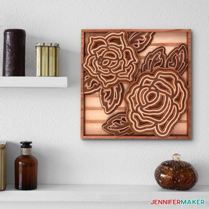 Beautiful wood veneer layered mandala rose made with a Cricut