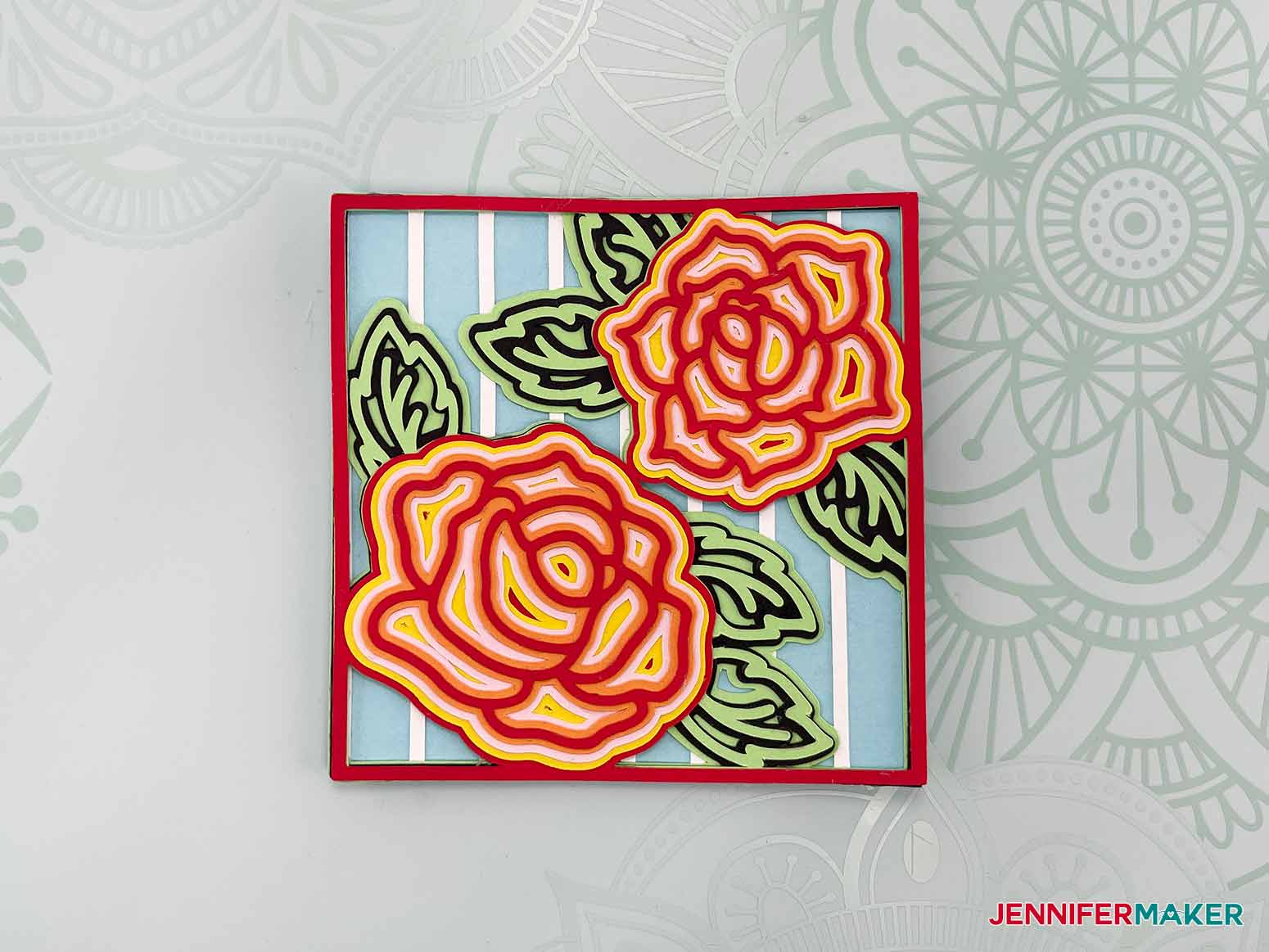 This is what my Layered Mandala Rose 3D design looks like cit on a Cricut Joy
