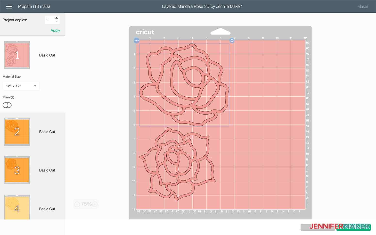 The cutting mats are set to cut in order of the layers in my Layered Mandala Rose 3D design