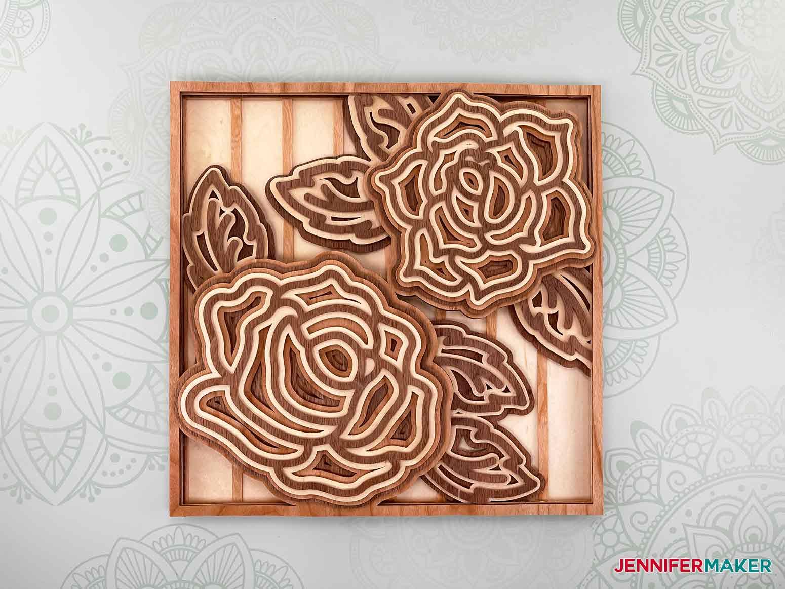 This is what my layered mandala rose 3d looks like using Cricut veneer