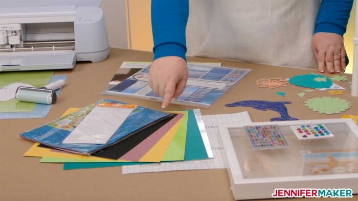 Materials to make our layered sea animal mandalas with various cardstock