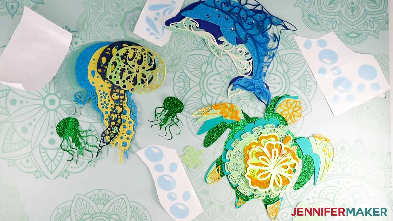 All cut pieces of the the Layered Sea Animals SVGs
