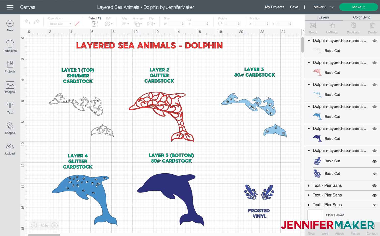 Layers and materials used to make Dolphin Layered Sea Animal