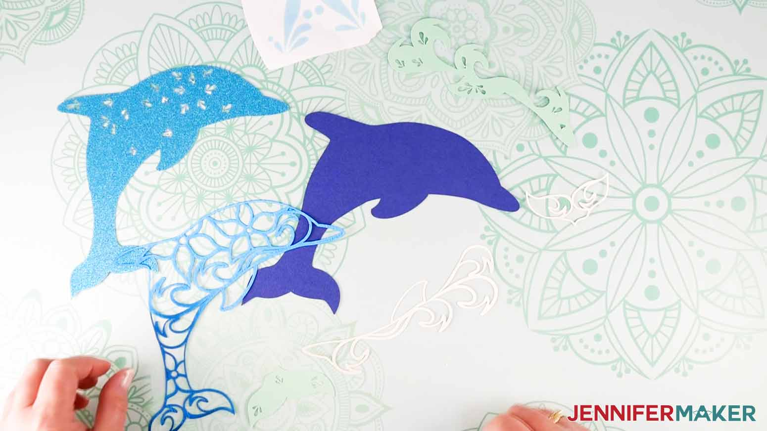 Dolphin pieces of the the Layered Sea Animals SVGs
