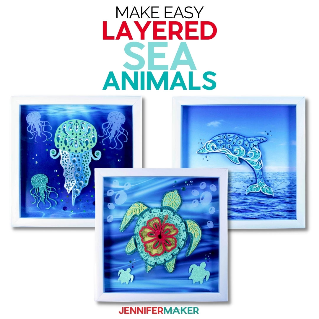 Make Layered Sea Animal SVGs - Dolphin, Jelly fish, and Turtle Mandalas - Free SVG Cut Files & Printable Pattern