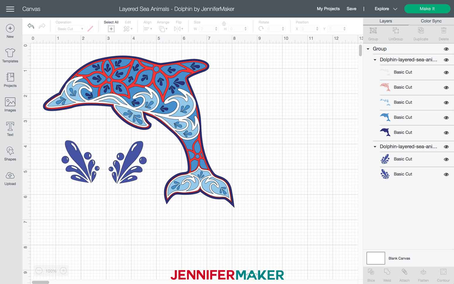 Dolphin Layered Sea Animals SVGs file imported into Design Space