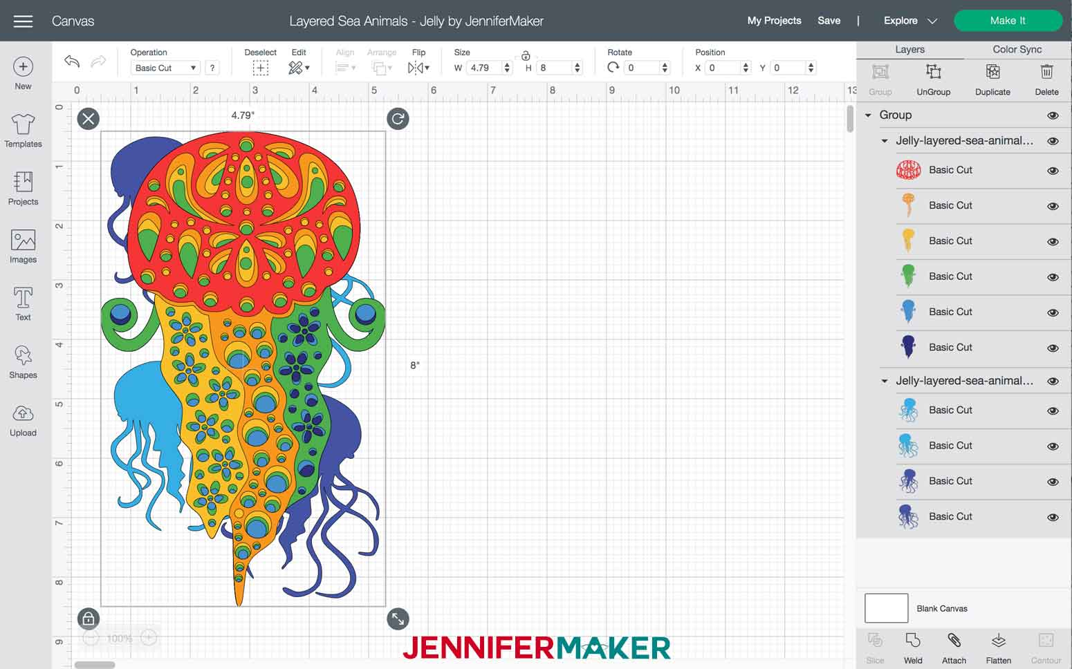 Jelly Layered Sea Animals SVGs file imported into Design Space