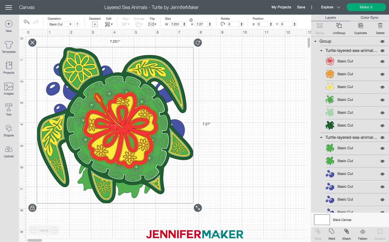 Turtle Layered Sea Animals SVGs file imported into Design Space