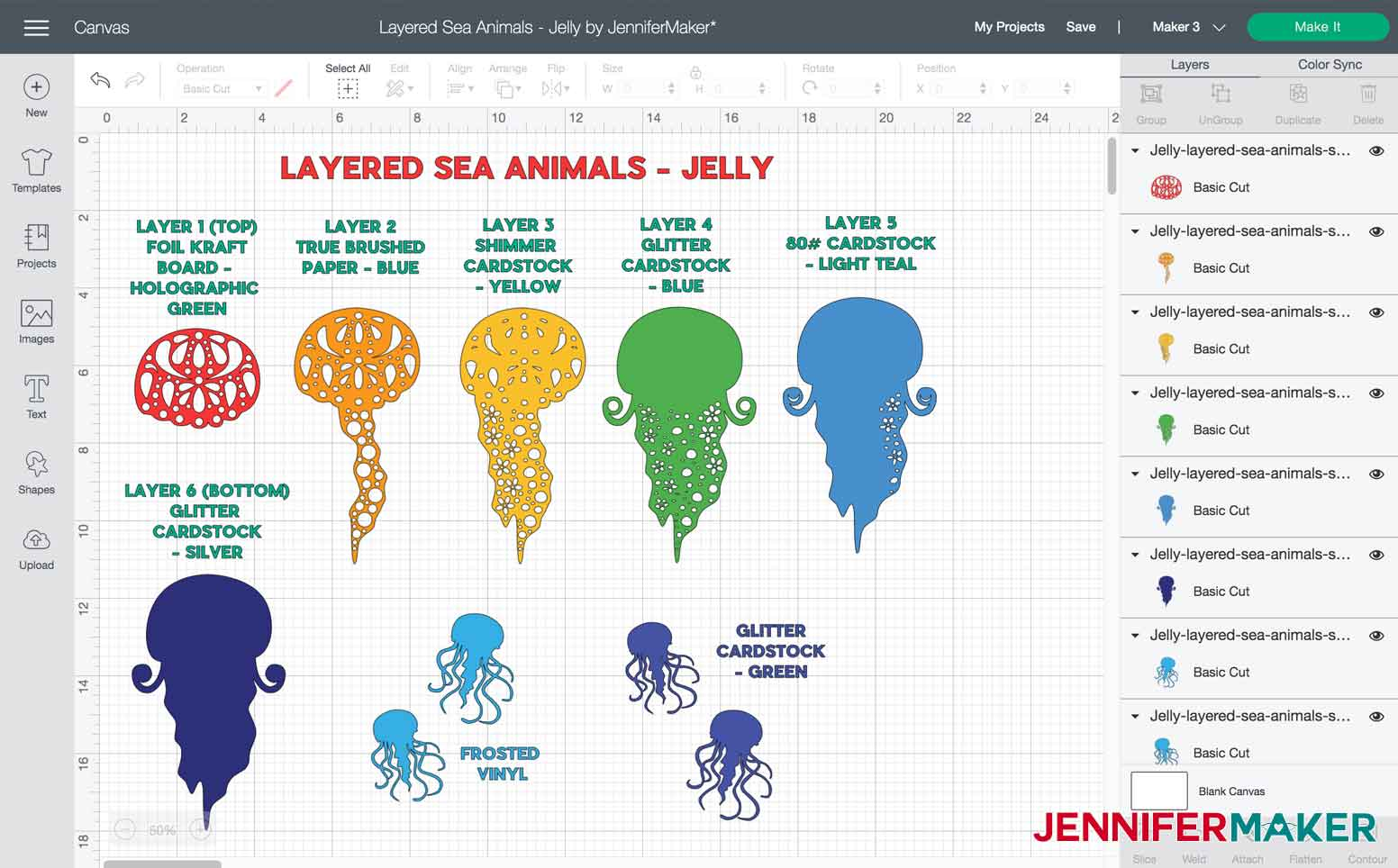 Layers and materials used to make Jelly Layered Sea Animal
