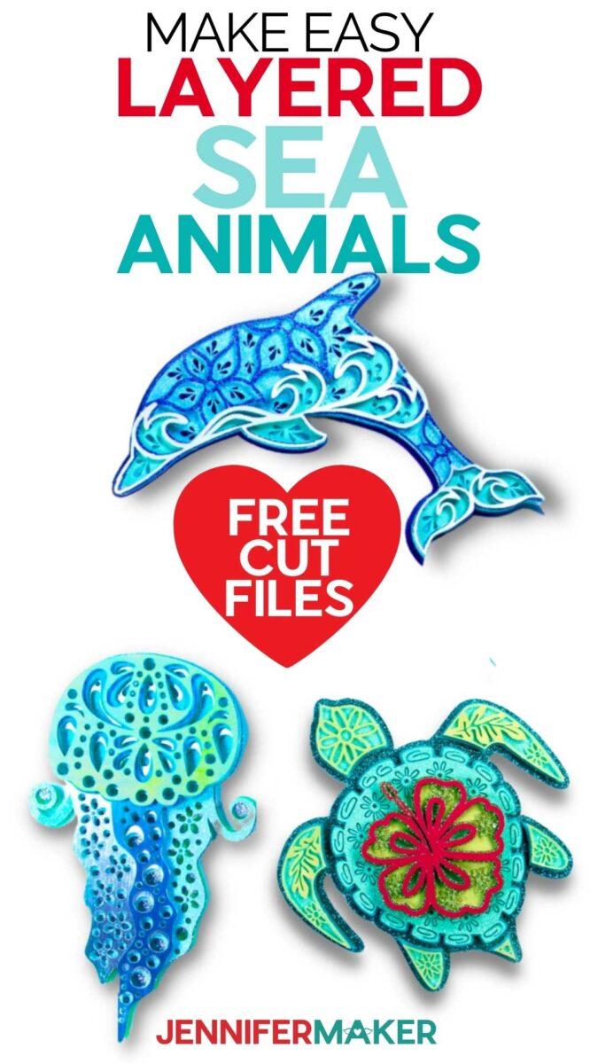 Make Layered Sea Animal SVGs - Dolphin, Jelly fish, and Turtle Mandalas - Free SVG Cut File & Printable Pattern #cricut #svgcutfile