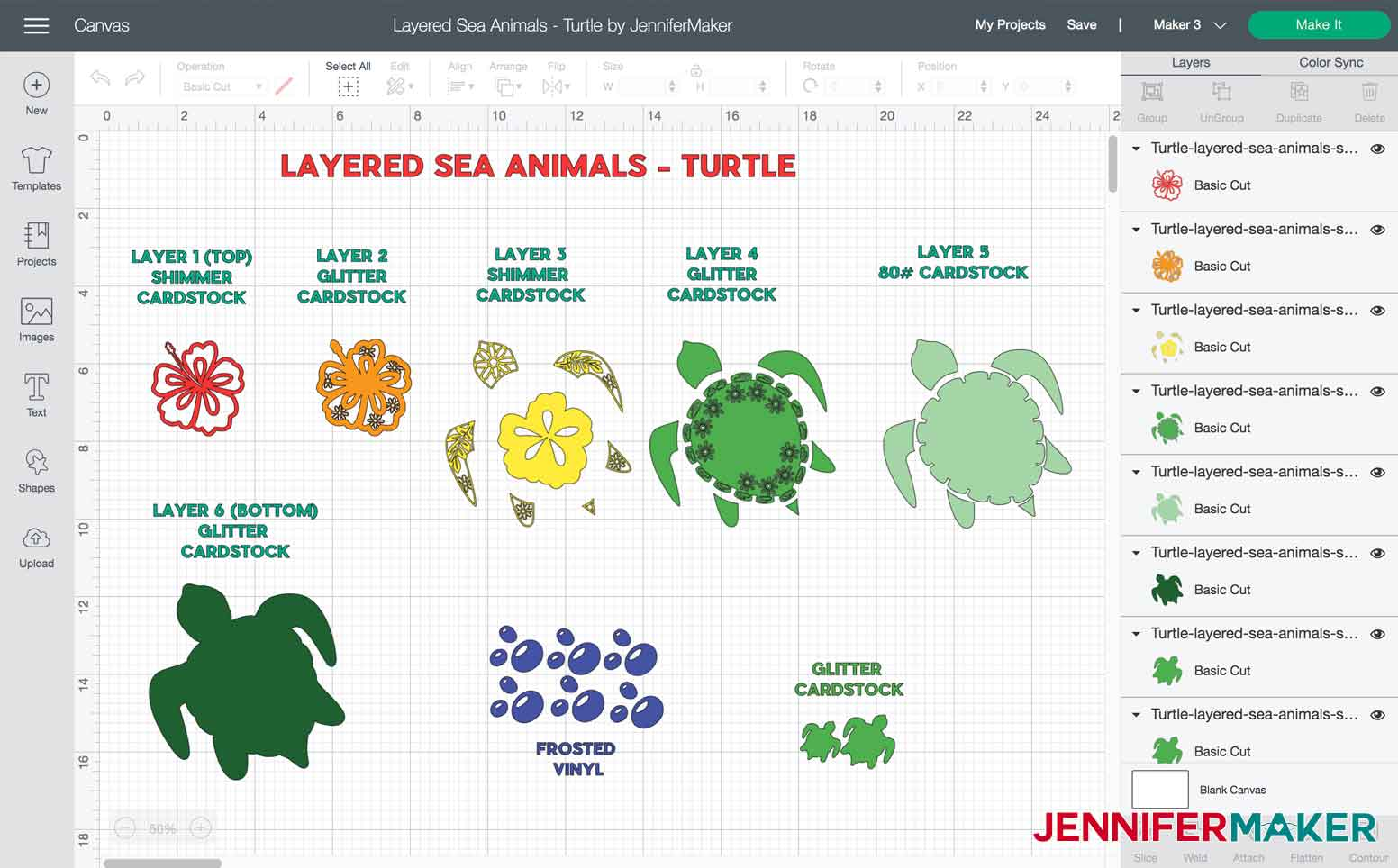 Layers and materials used to make Turtle Layered Sea Animal