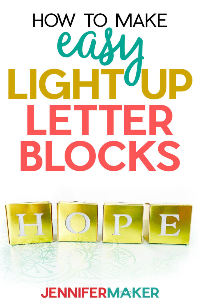 Easy Light Up Letter Blocks to Decorate Your Home and Uplift Your Room | Free SVG File #Cricut #homedecor