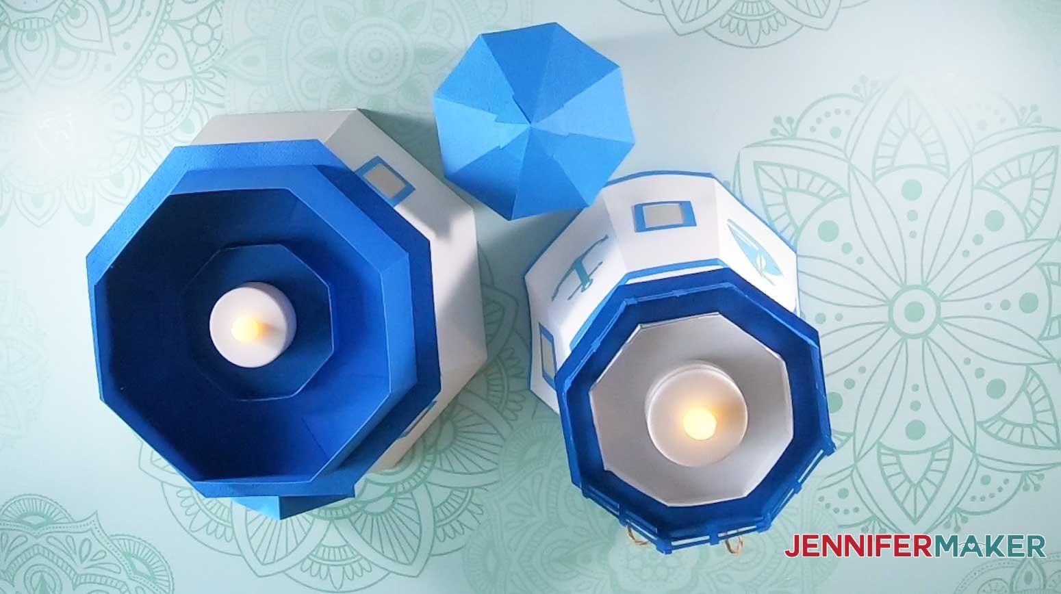 three tiers of jennifermaker paper lighthouse luminary