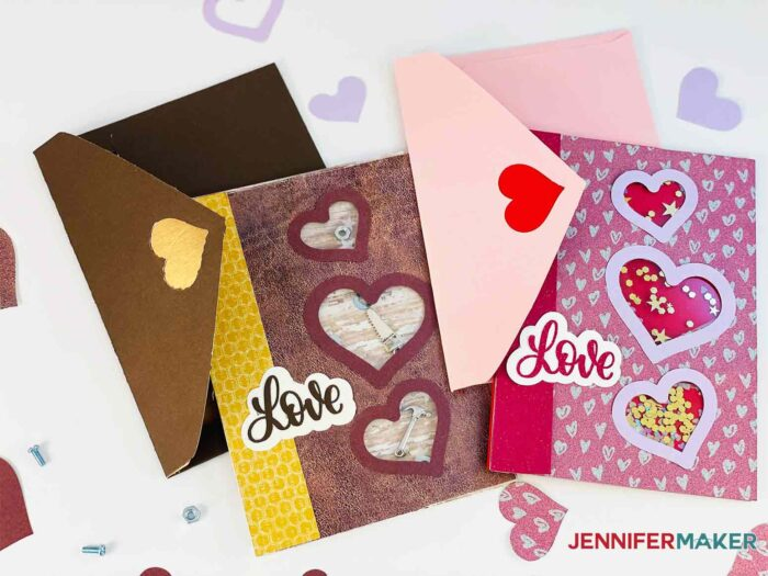 Brown and pink shaker card