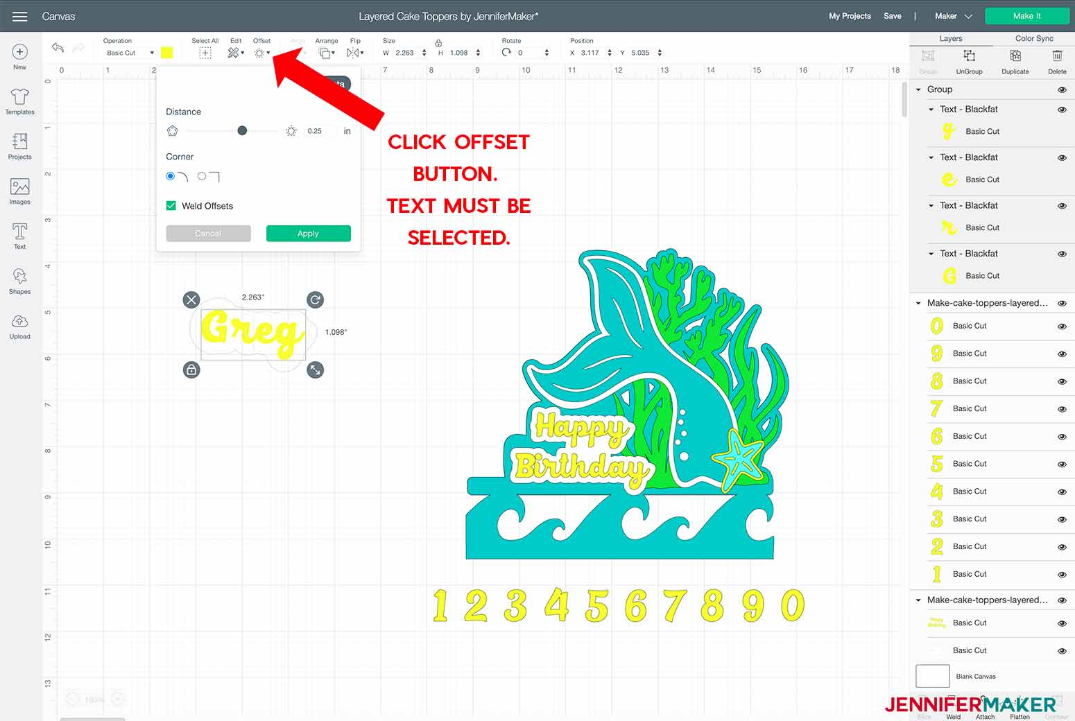 clicking on offset button to offset text for my layered cake toppers