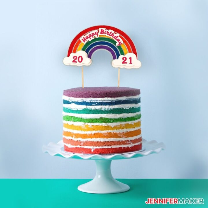 make a bright rainbow cake topper with layers