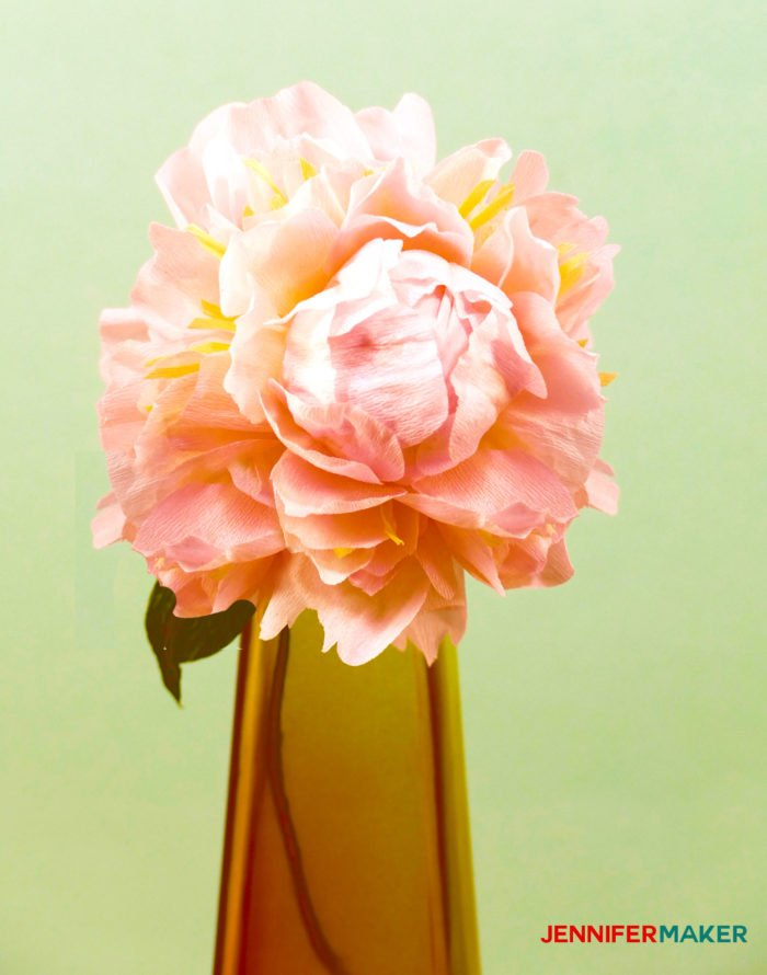 Make crepe paper peony flowers that look real like this pale pink peony in an amber vase