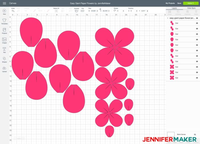 Pink flower petal template in Cricut Design Space