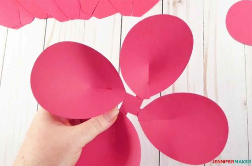 A cupped petal group in pink to make giant paper flowers