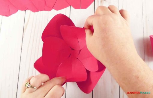 Glue all three petal groups together to make the giant paper flowers