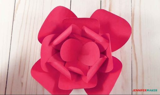The finished bud of the giant paper flower