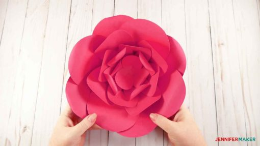 A finished giant paper flower in pink!