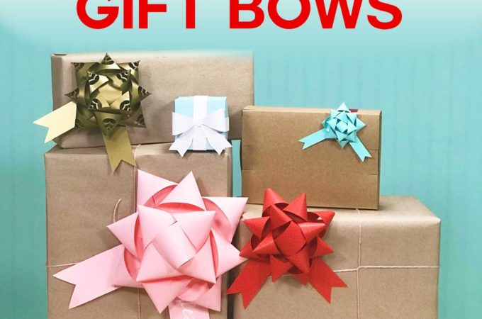 Make gift bows from paper with free templates and SVG cut files for Cricut #Cricut #cricutmade #giftbows #bows #papercraft