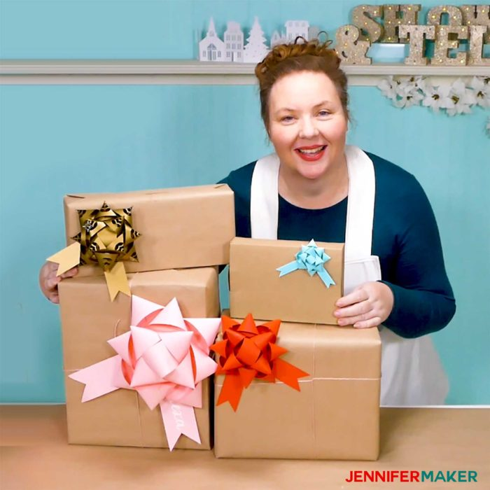 Jennifer Maker and her pretty paper gift bows on packages