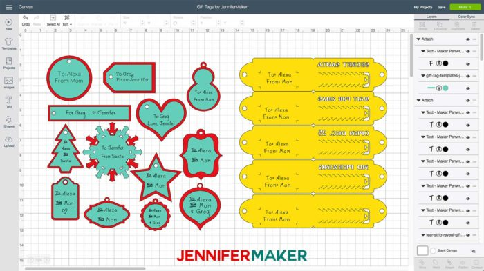 Gift card templates in Cricut Design Space
