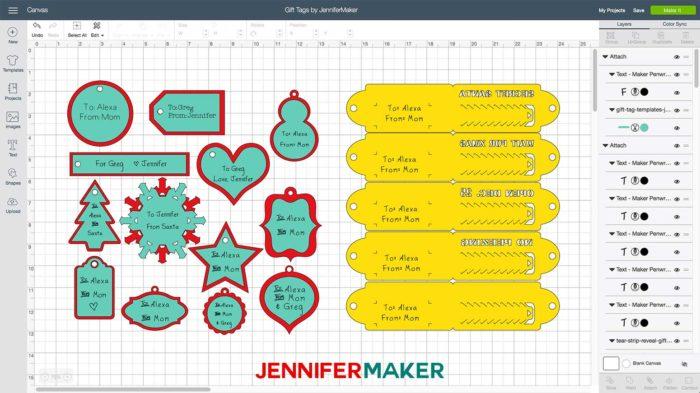 Gift card templates in Cricut Design Space