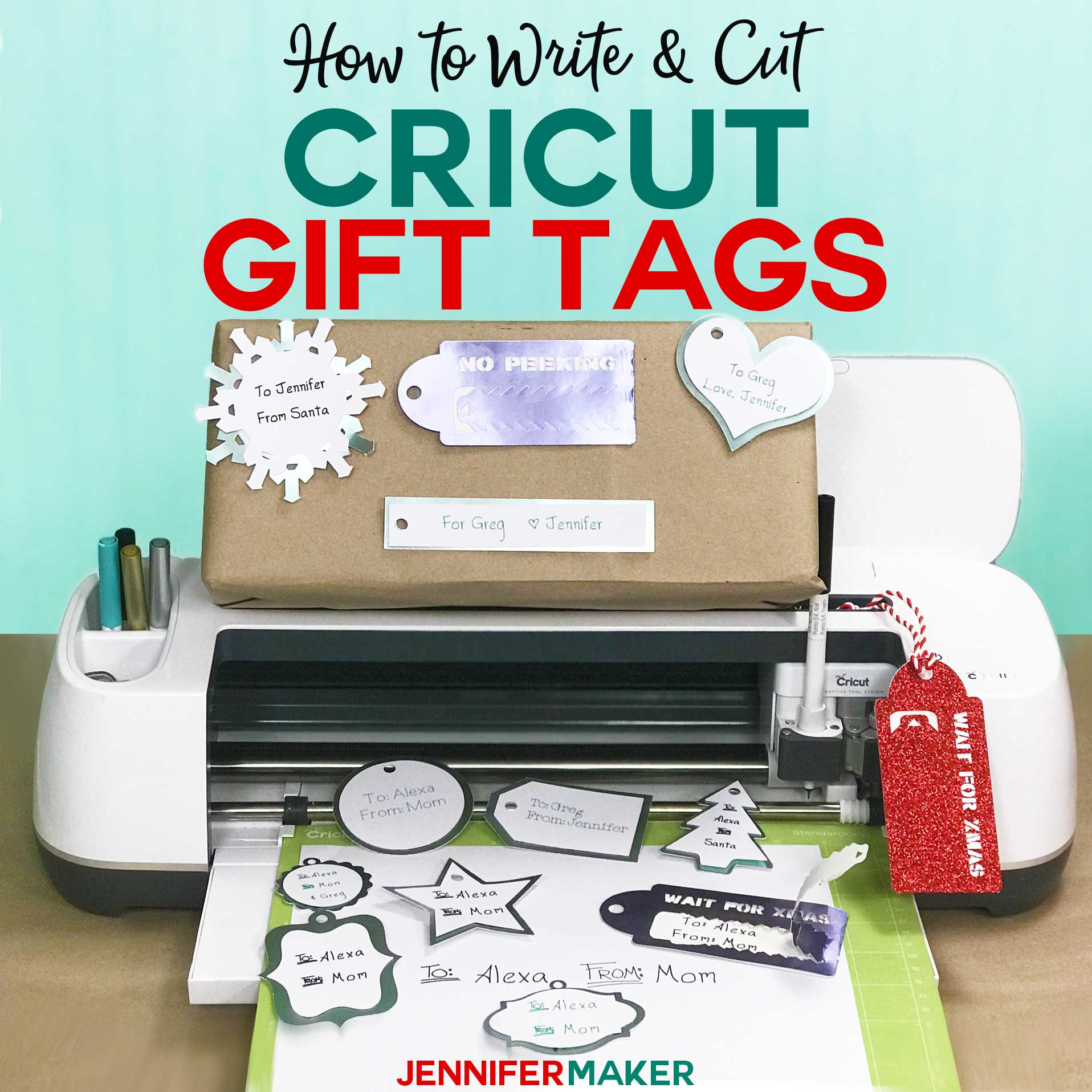 How to write & cut gift tags on a Cricut with free templates and a penwriting font! #cricut #gifts #svgcutfile #font #handwriting