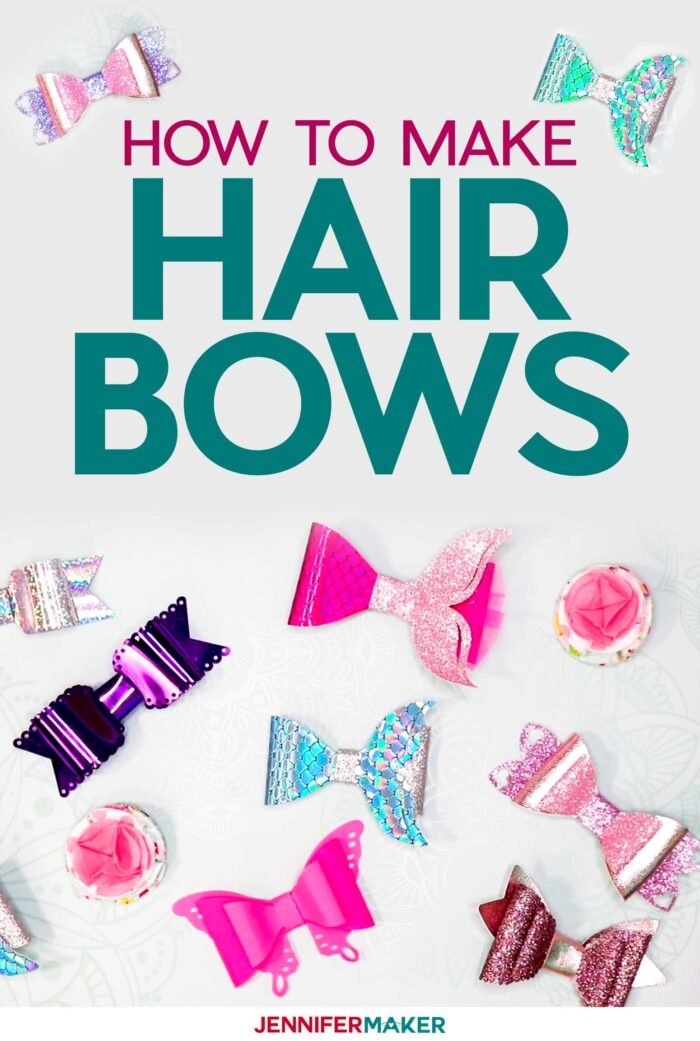 Make Hair Bows Easy with Mermaid Tails, Wings, and Hearts on a Cricut! #fauxleather #partyfoil #fabric
