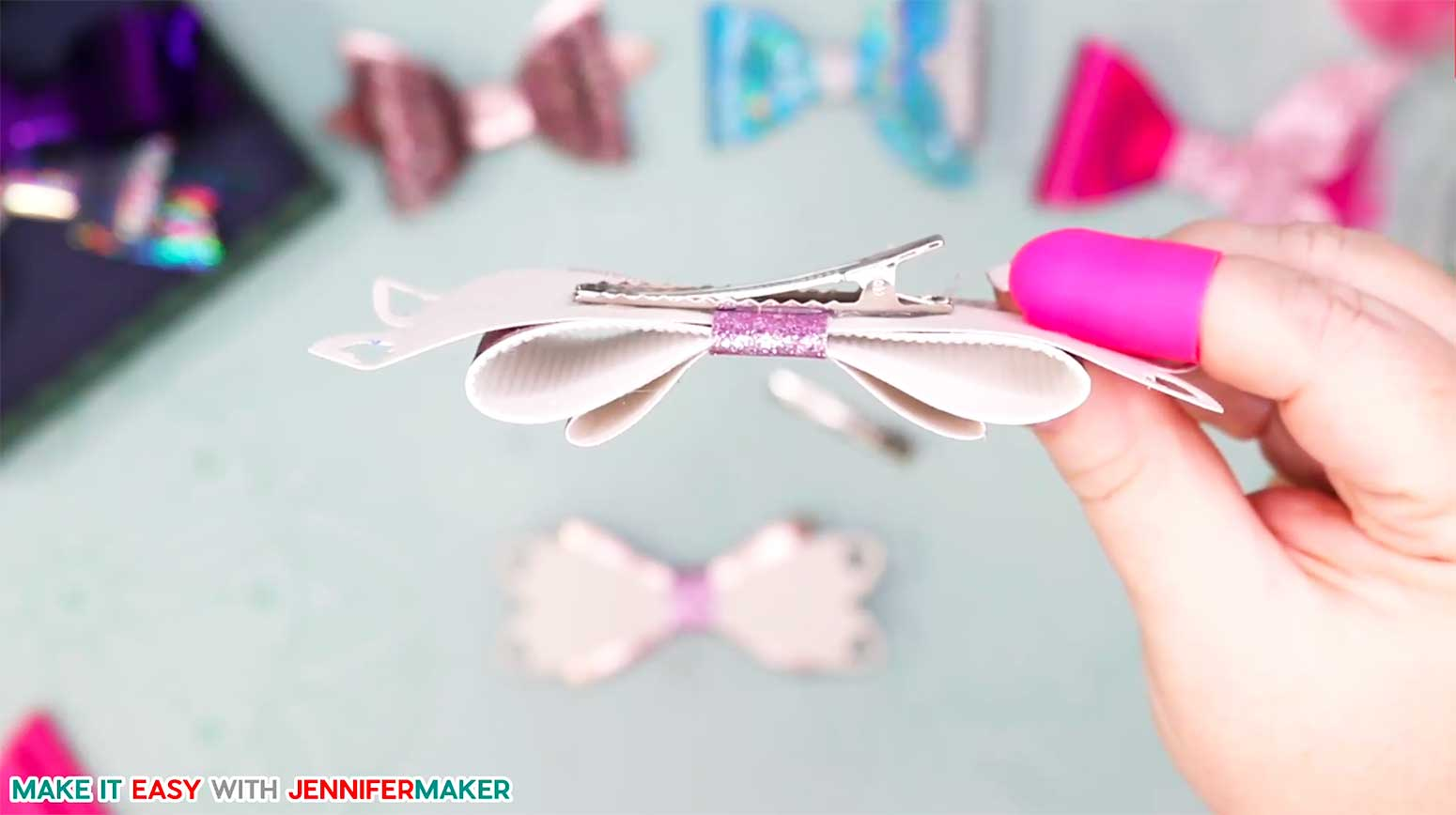 Glue a hair clip to the back of your assembled bow to make hair bows