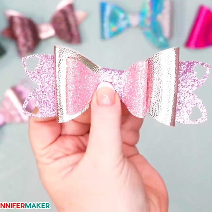A glitter faux leather heart design on a bow to make hair bows pretty!