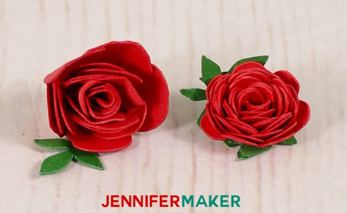 Make miniature paper roses for cute crafts jennifer maker closeup of two miniature paper roses made with red and green cardstock mightylinksfo