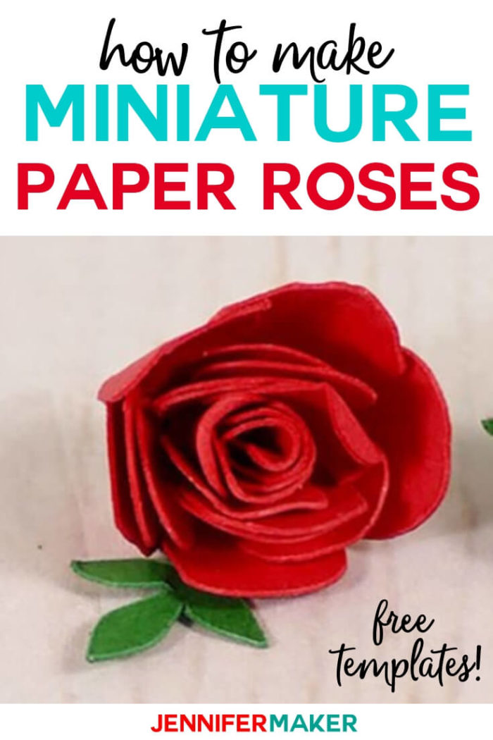 Learn how to make miniature paper roses that look realistic yet are easy to make! Click here for a step by step tutorial with a free SVG cut file to help you create mini roses for your crafting projects. #cricut #cricutmade #cricutmaker #cricutexplore #svg #svgfile