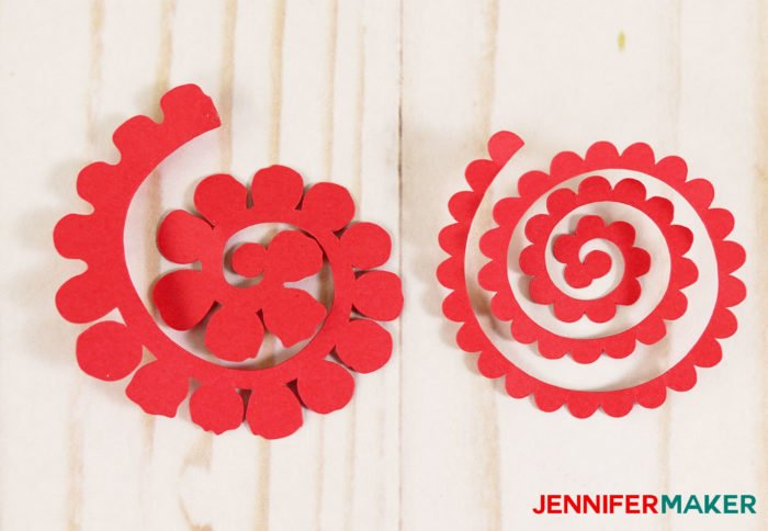 Spiral red petals ready to roll up into miniature paper flowers