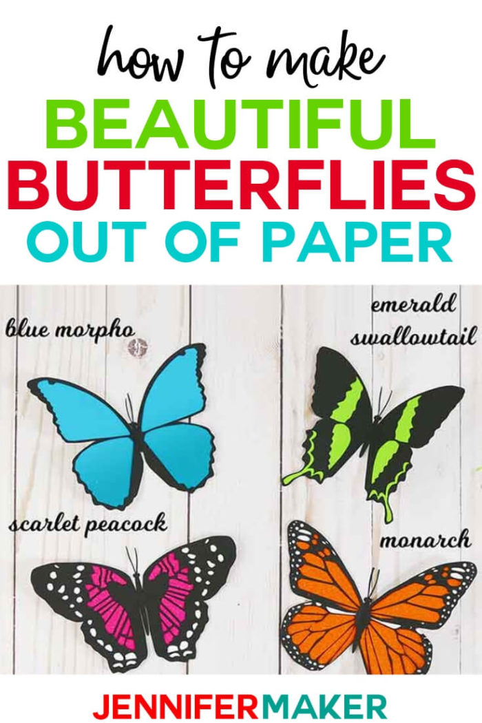 Learn how to make paper butterfly decorations for your home decor, gift package toppers, party decorations, and craft embellishments! These paper butterflies are a fun and easy project to make with a full tutorial and SVG cut files. #cricut #cricutmade #cricutmaker #cricutexplore #svg #svgfile
