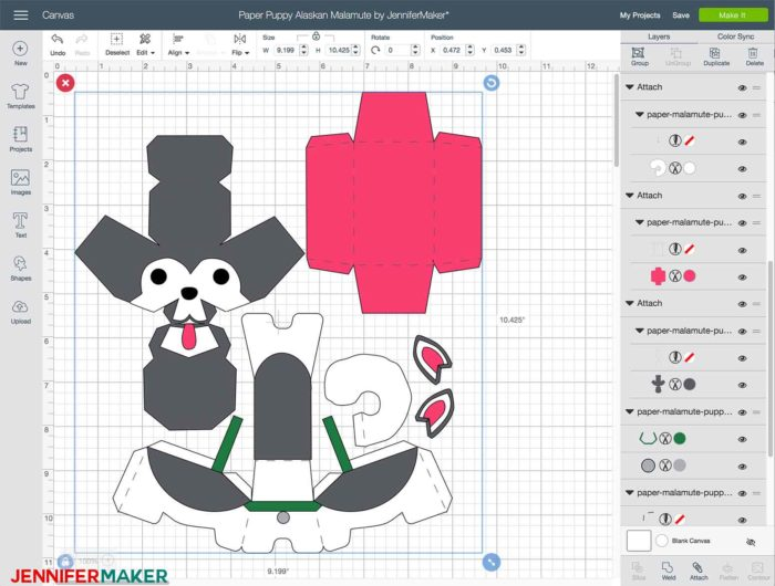Preparing the cut files in Cricut Design Space to make paper dog boxes