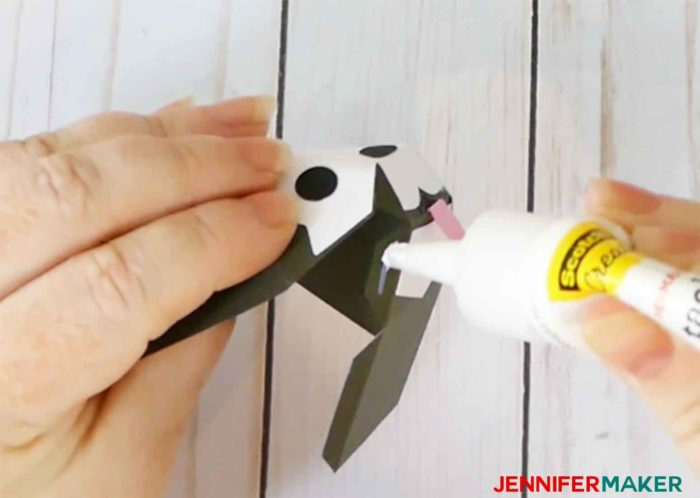 Glue the head together to make a paper dog box