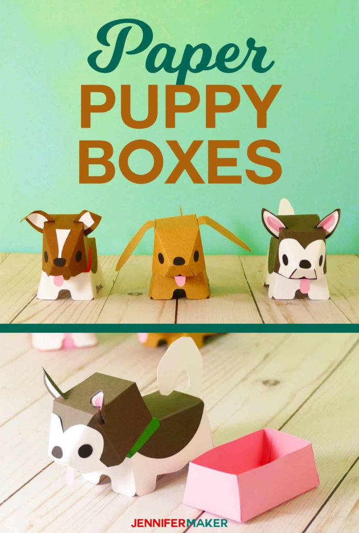 How to Make Paper Dog & Puppy Boxes #papercraft #gifts #cricut #svgfile #tutorial